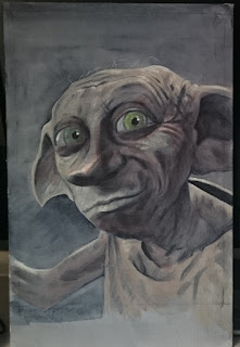 An intermediate stage of my Dobby painting - Robin Springett