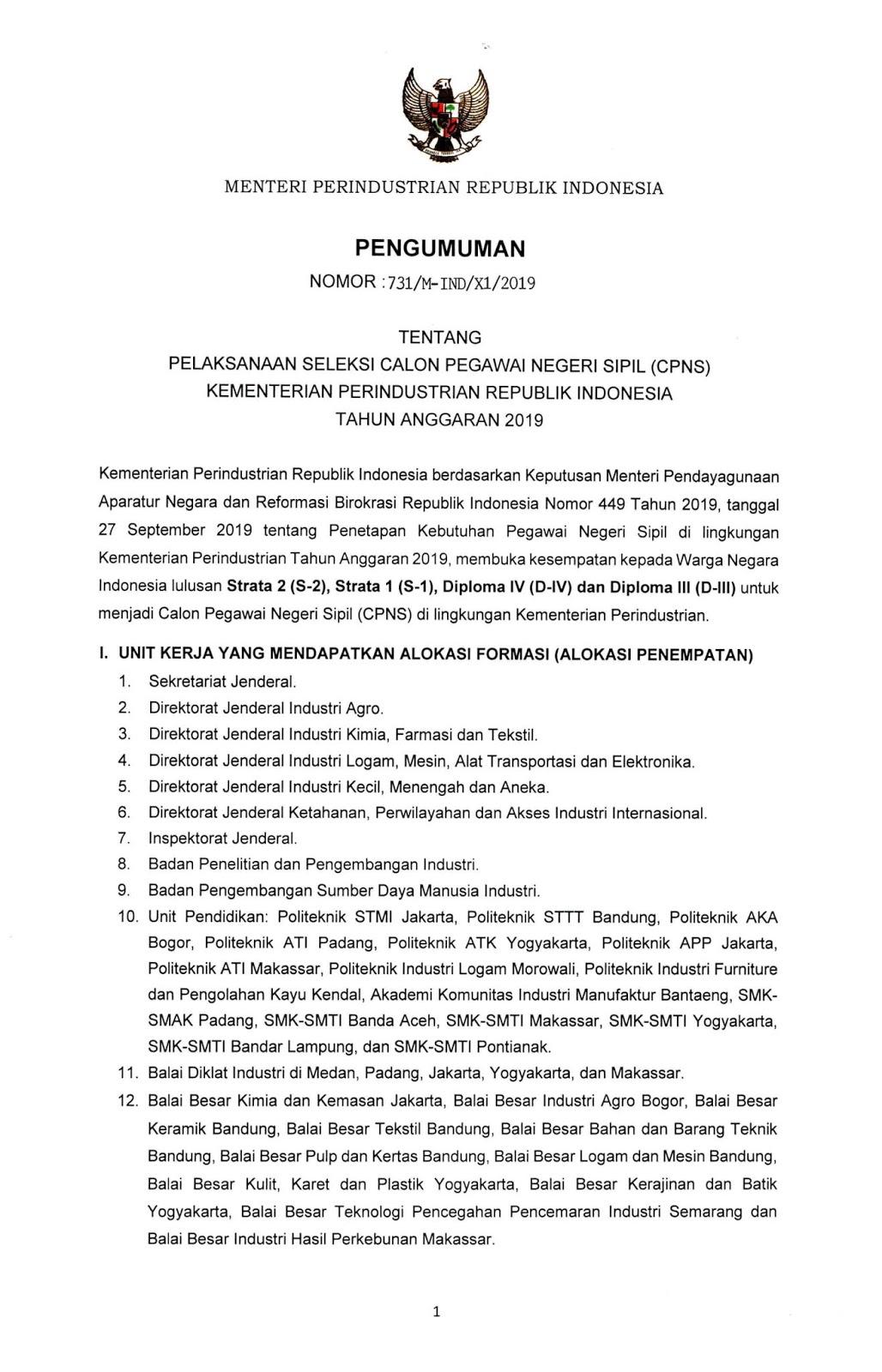 Lowongan CPNS Kementerian Perindustrian Republik Indonesia Tahun 2019 [359 formasi]