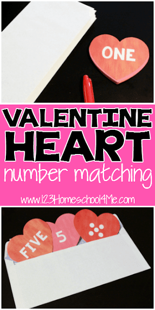 FREE Valentine Heart Numbers Activity  for Preschoolers, Prek, Kindergarten! This is such a cute valentines day activity for little kids