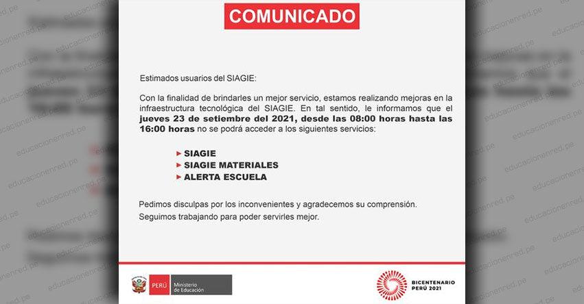 SIAGIE COMUNICADO: Suspensión del Servicio Jueves 23 de Septiembre 2021 - MINEDU - www.siagie.minedu.gob.pe