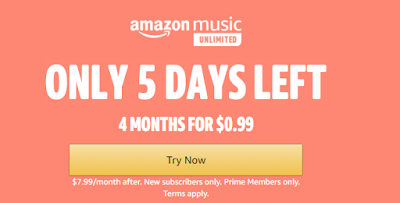 Only $0.99 to sing up for amazon prime music