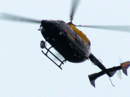 Police helicopter hovering over Brookmans Park. Image by North Mymms News released under Creative Commons BY-NC-SA 4.0