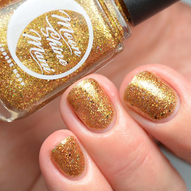 gold holographic glitter nail polish swatch