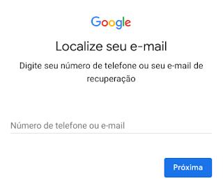 Perdi a senha do e-mail Gmail