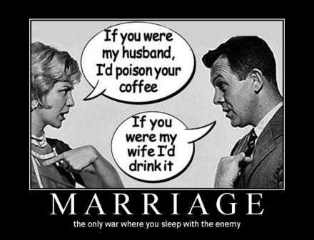 Funny Married Men Women Differences Jokes - Marriage Sleeping Enemy Caption Photo