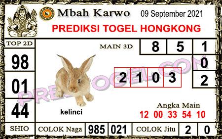 Prediksi Mbah Karwo Hk Kamis 09 September 2021
