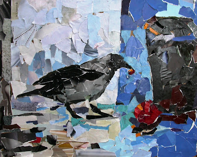 Gambar kolaj seekor burung gagak sedang mematuk sesuatu.