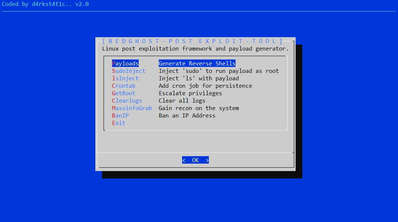 RedGhost v2 0 - Linux Post Exploitation Framework Designed