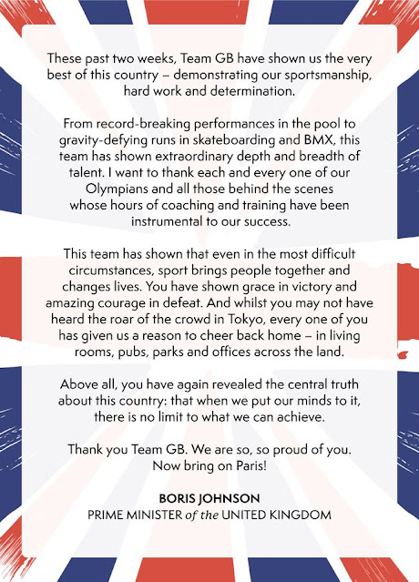 Boris message to Team GB Olympians