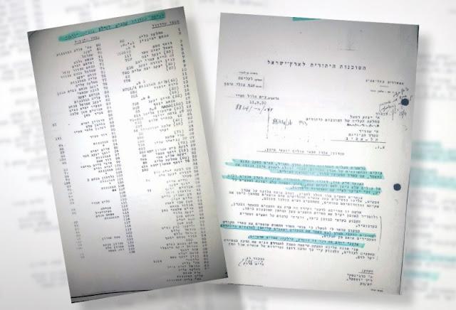 חלק מהמסמכים שנמצאו ושיוצגו השבוע בכנסת