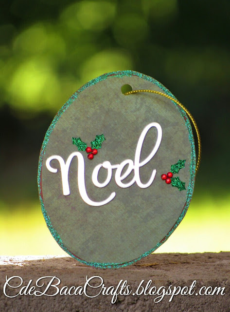 Handmade Christmas gift tag created by CdeBaca Crafts blog.