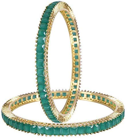 Ratnavali Jewels CZ Zirconia Gold Tone Green Diamond Indian Bangles Jewelry Women