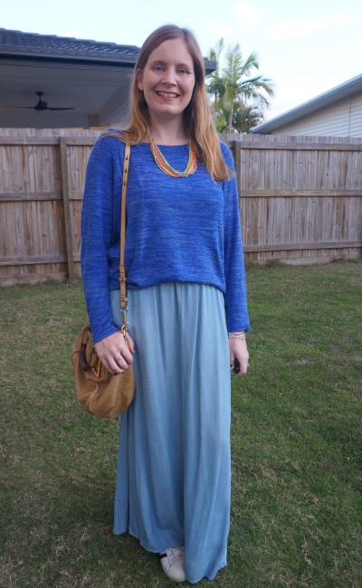 monochrome winter maxi skirt outfit cobalt marl knit chambray maxi skirt chloe ethel bag and statement beaded necklace | awayfromblue