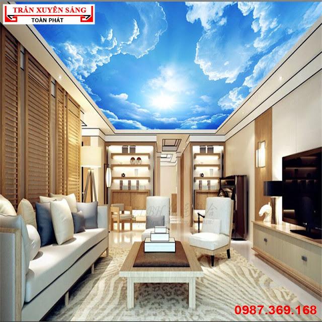 Trang trí trần phòng khách đẹp bằng trần xuyên sáng