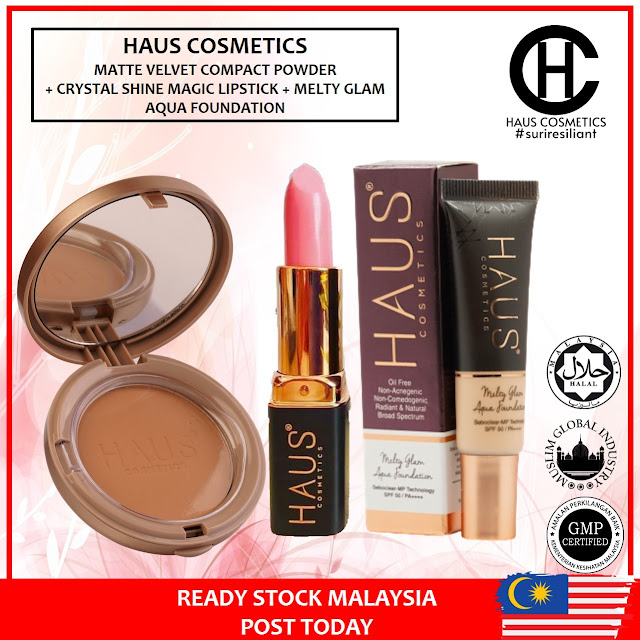 HAUS COSMETICS COMBO CRYSTAL SHINE MAGIC LIPSTICK RM29 + MATTE VELVET COMPACT POWDER RM65 + MELTY GLAM AQUA FOUNDATION RM43