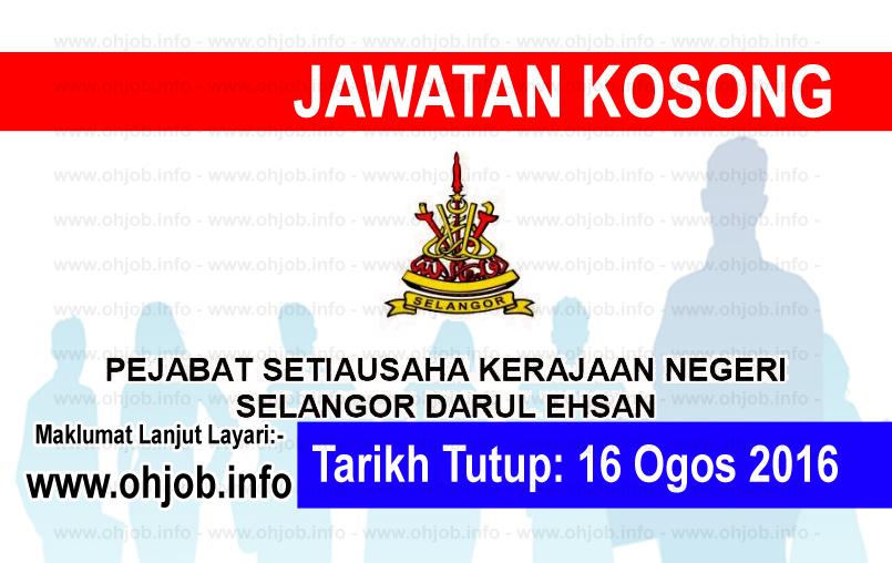 Jawatan Kerja Kosong Kerajaan Negeri Selangor (SUK Selangor) logo www.ohjob.info ogos 2016