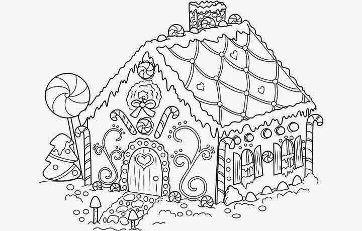 Recursos 20 dibujos de navidad para colorear la eduteca for Coloring pages of gingerbread houses