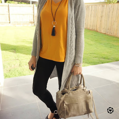awayfromtheblue Instagram | mustard tee with wool cardigan black skinny jeans neutral outfit