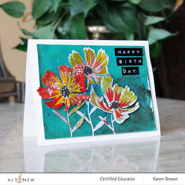 Gel Press Die Cut Flowers