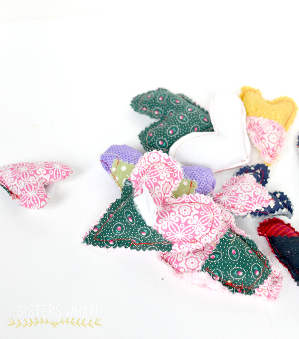 scrap fabric hearts sewing project