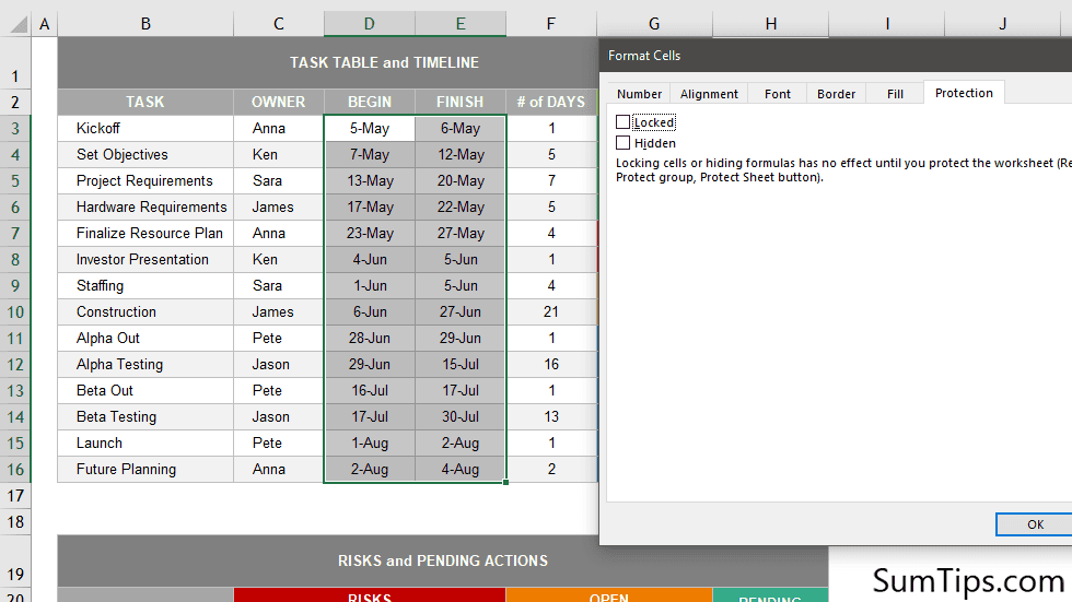How to Allow Data Entry in Specific Cells in Excel