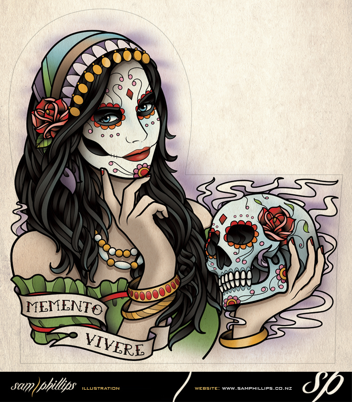 Sams Blog: Day Of The Dead Woman Half Sleeve Tattoo