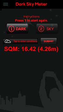 Palmia Observatory Resident Astronomer uses Datk Sky Meter Iphone app
