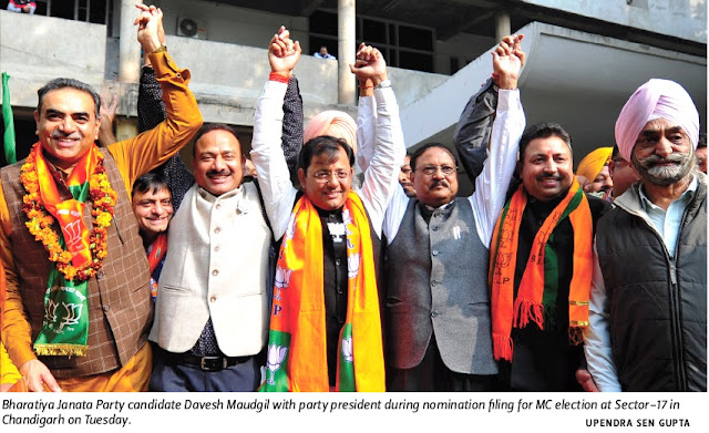 BJP candidate Davesh Moudgil with Ex-MP & Additional Solicitor General of India during nomination filing for MC election at Sector 17 in Chandigarh on Tuesday