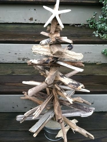 driftwood Christmas tree in bucket