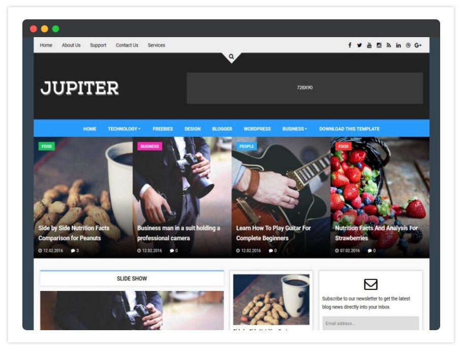 Jupiter Blogger Template (News Portal Blogs Template 2020)