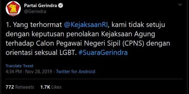 Dianggap Dukung LGBT, Gerindra Diserang Warganet