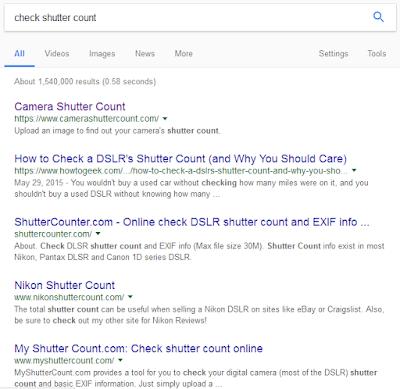 Website untuk cek shutter count
