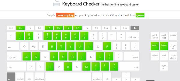 4. Cách test keyboard với Keyboard Checker a