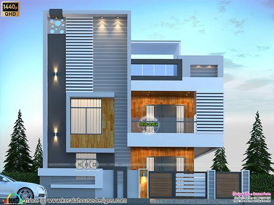 4 bedroom 2310 sq.ft. modern duplex home design