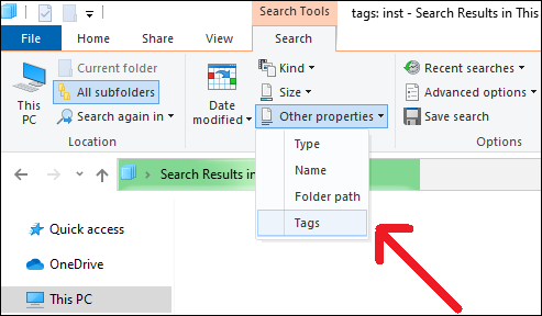 Apply Tags to Windows Search