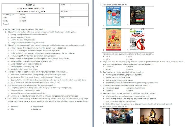 Soal Semester Tema 3 kelas 5 SD/MI
