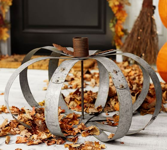 Pottery Barn inspired outdoor galvanized pumpkins