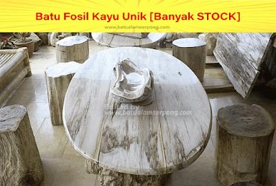 batu fosil kayu dibuat meja dan kursi