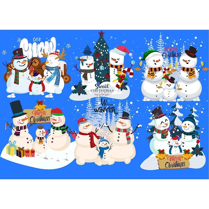 Decorative snowman icons colorful classic cute design Free vector
