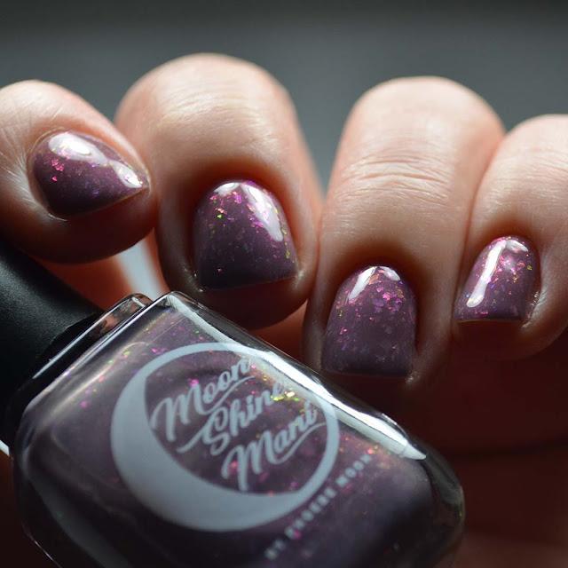 mauve flakie nail polish low light swatch