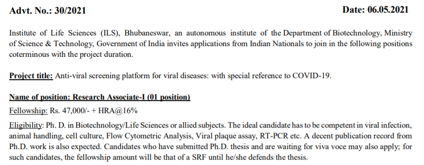 Institute of Life Sciences | Research Associate – I, Project Associate – I, Technical Asst – 5 Posts | Rs. 47,000/- + HRA@16%