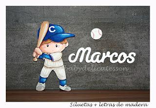 silueta de madera infantil niño jugando al béisbol babydelicatessen