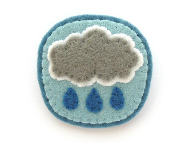 felt raincloud brooch PDF sewing pattern
