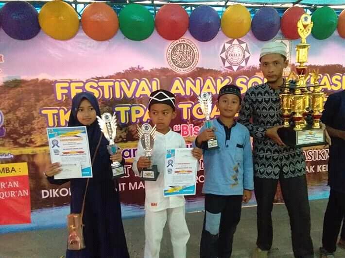 Alifa Rihadatul Anfus (Juara 1 Pidato Putri) Rafa Al Mubarok (Juara 3 Adzan) Muhammad Dafi Nuril Husna (Juara 1 Tartil AlQur'an) di Festival Anak Shaleh Indonesia 2019