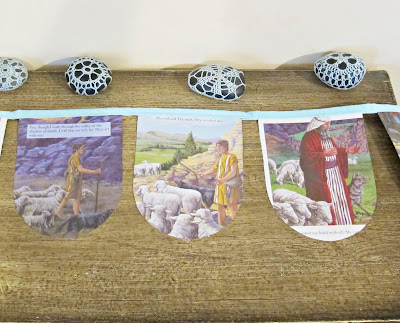 image psalm 23 bunting the lord is my shepherd christian religious domum vindemia sheep aqua blue
