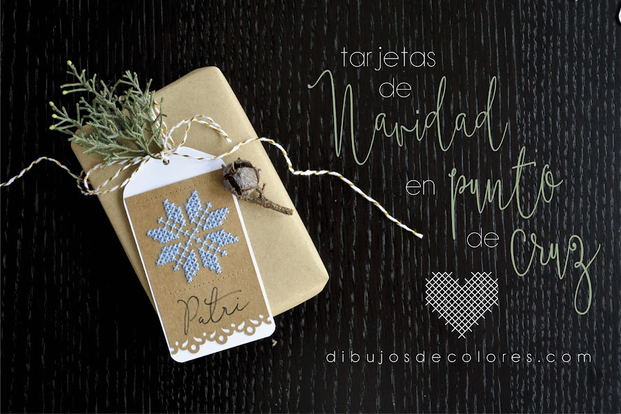 cross stitch christmas tags