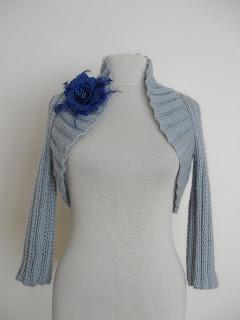 6d9805344 Knitting And Beading Wedding Bridal Accessories and Free pattern  Mohair  Shrug Bolero Jacket   light grey