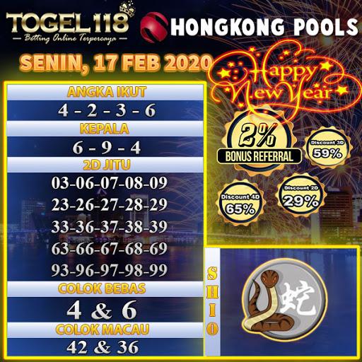 Prediksi Togel Hongkong 17 Februari 2020 - Prediksi Togel118