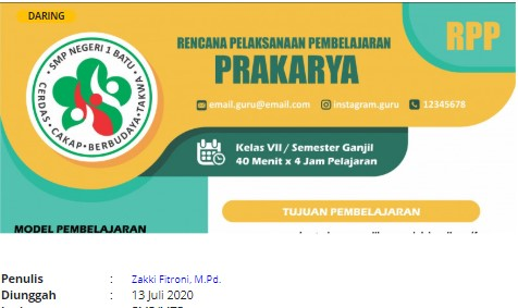 RPP Daring Online Prakarya Kelas 7 SMP