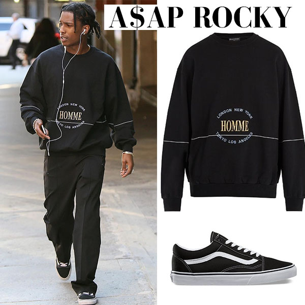 a$ap rock sweatshirt vans sneakers street fashion style july 2017